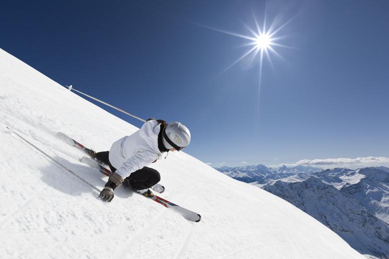 Skifahren Alpen Sonnenschein